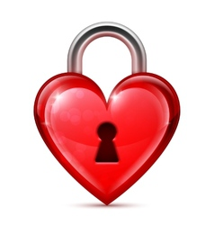 Red heart lock vector