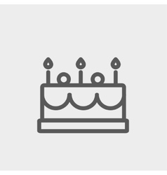 Birthday cake with candles thin line icon vector