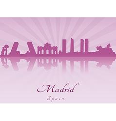 Madrid skyline in purple radiant orchid vector