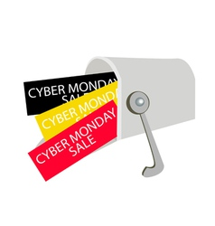 Cyber monday letters in a gray mailbox vector