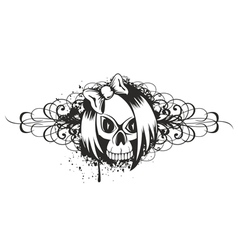Skull emo with pattern vector