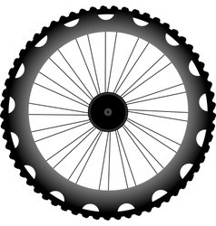 Bike wheel black silhouette vector