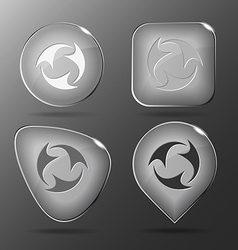 Abstract recycle symbol glass buttons vector