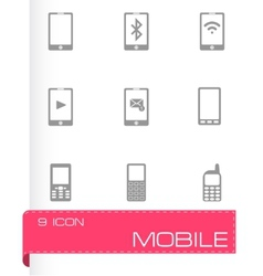 Black mobile icons set vector