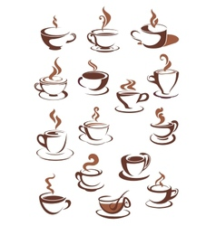 Steaming coffee cups vector