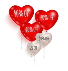 Red and white balloons sale 01 vector