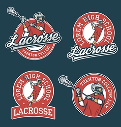Set of lacrosse team emblems vector