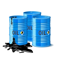Three metal barrels with oil vector