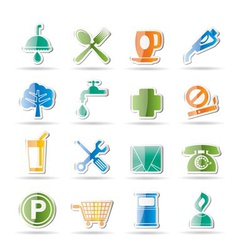 Petrol station and travel icons vector