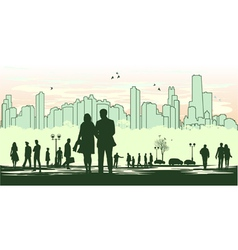 Green outline silhouette of the city vector