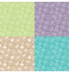 Seamless patterns with ribbon vector