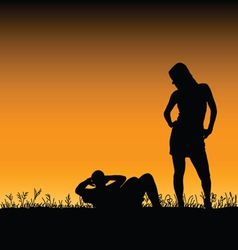 Man and woman in the nature vector