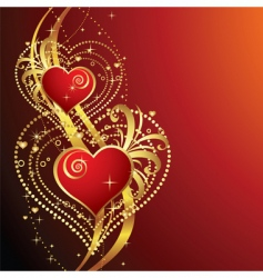 Beautiful background with hearts v vector