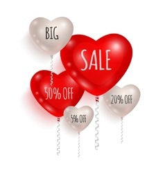 Red and white balloons sale 02 vector