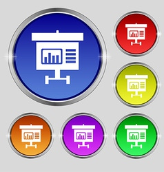 Graph icon sign round symbol on bright colourful vector