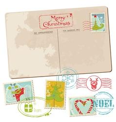 Vintage christmas postcard vector