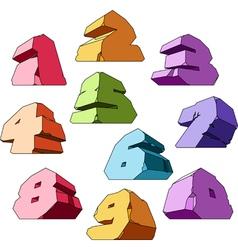 Multicolored alphabet digits vector