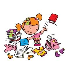 Little schoolgirl in a messy room vector