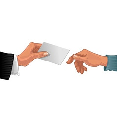 Male hand pass business card to other male hand vector