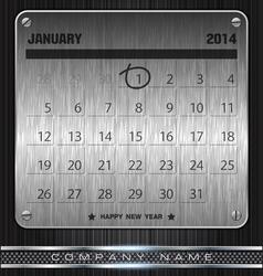 Metal january calendar 2014 happy new year vector