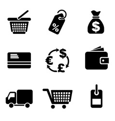 Computer commerce icons vector