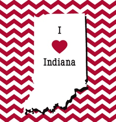 Red and white indiana chevron card vector