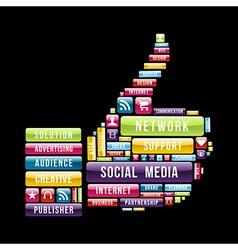 Social media thumb up vector