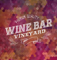 Premium wine bar vintage label background vector