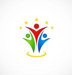 Happy people success abstract logo vector