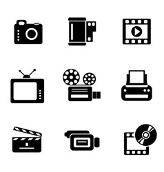 Computer photo-video icons vector