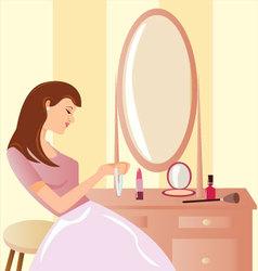 Girl-before-a-mirror vector