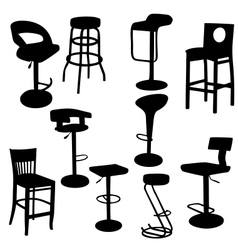 Set of bar armchairs silhouettes vector
