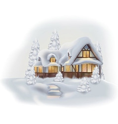 Snowy cottage vector