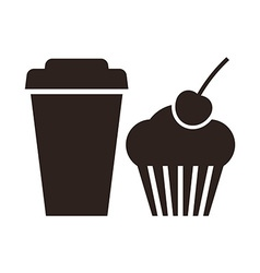 Muffin and coffee to go icon vector