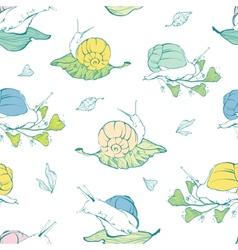 Lineart snails on leaves seamless pattern vector