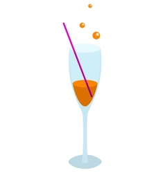 Glass of orange drink vector