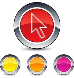 Pixel arrow round button vector