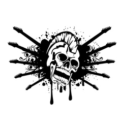 Skull with silhouette guitars vector