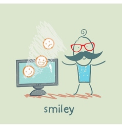 Man watching tv with smiles vector