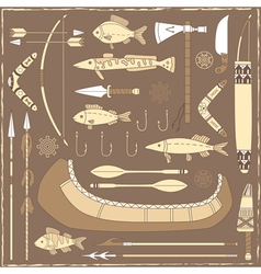 Native american fishing design elements vector