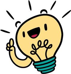 Cute light bulb hitting on an idea vector
