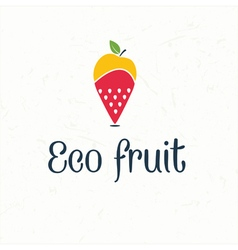 Fruit map pin icon -eco fruit vector