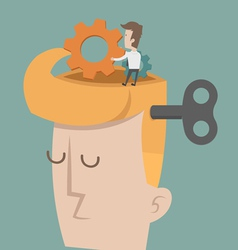 Head and brain gears in progress vector