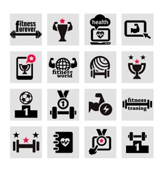 Fitness and health icons set vector