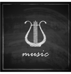 Vintage with the harp on blackboard background vector