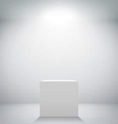 Empty white room with a pedestal for presentation vector