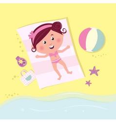 Beach babe sunbathing vector