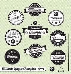 Billiards champion labels vector