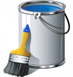 Paint brush and bucket vector