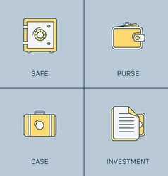 Set of modern thin line icons safe purse case vector